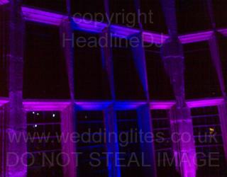 Wedding Uplighting - Pink and Blue windows at Hoghton Tower