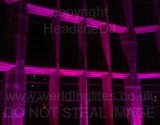 Wedding Uplighting - Pink and Magenta windows at Hoghton Tower