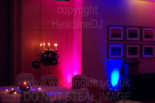 wedding lighting with pink and blue uplighters