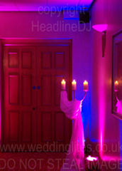 Pink and Blue Wedding Lighting using LED lighting and Candles
