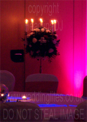 Pink Wedding Theme using LED lighting and Candles